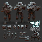 Render of Exo-Lord scale figures and Parts